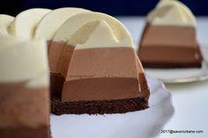 Tort trio de ciocolata reteta autentica pas cu pas | Savori Urbane Food Cakes, Dessert Bars, Cake Recipes, Biscuits, Cheesecake, Good Food, Food And Drink, Ice Cream, Sweets