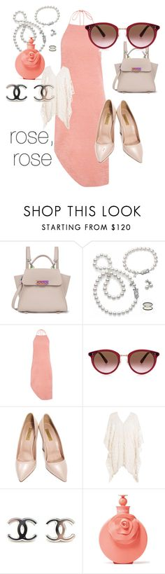 """""""Rose, rose"""" by twoangelgoats ❤ liked on Polyvore featuring ZAC Zac Posen, Mikimoto, C/MEO COLLECTIVE, Oliver Peoples, Dee Keller, Eberjey and Valentino"""