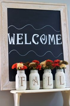 "Beautiful ""Fall"" mason jars vases"
