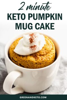 This delicious Keto Pumpkin Mug Cake is one of the quickest keto pumpkin desserts you can make. And get this: it only takes one bowl and less than 2 minutes in the microwave until you& be indulging in a sweet and spicy pumpkin dessert! Keto Cake, Keto Cheesecake, Keto Foods, Keto Snacks, Mug Recipes, Pumpkin Recipes, Fall Recipes, Homemade Pumpkin Puree, Dessert Recipes