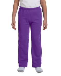 Gildan Heavy Blend Youth Open-Bottom Sweatpants, Purple, Small. air jet yarn creates a smooth low-pill surface for printing. differential rise for a better fit. covered elastic waistband. slightly tapered leg with open-bottom hem. no drawcord.