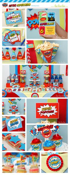 Retro Superhero Birthday Party Package Personalized Printable Design by leelaaloo.com