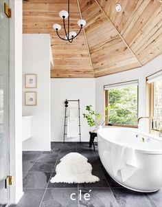 How I Designed My Spa-Inspired Mountain House Master Bathroom - Emily Henderson Design - Re-Wilding Spa Master Bathroom, Grey Bathrooms, Beautiful Bathrooms, Bathroom Interior, Spa Inspired Bathroom, Minimal Bathroom, Spa Bathroom Design, Spa Bathrooms, Natural Bathroom