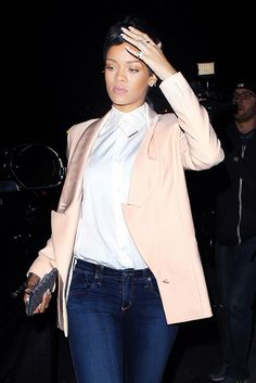 Get the look: Rihanna - Shop our Crystal Bar Pendant Necklace to get Rihanna's look!