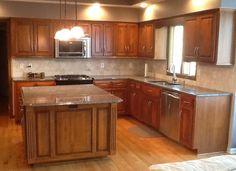 Kitchen Backsplash Diagonal Pattern oak cabinets, medium toned countertops, green backsplash. i could
