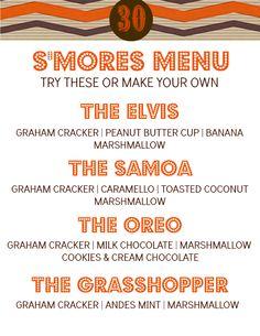 S'mores Bar menu (clever!)