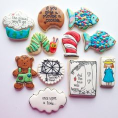 Classic children's books cookie set by Hoosier Sugar Cookies - Cat in the Hat, Corduroy, Very Hungry Caterpillar, Madeline, The Giving Tree, Rainbow Fish, Charlotte's Web, If You Give a Mouse a Cookie
