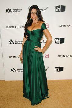 Sofia Off the Shoulder Sweetheart Dark green Celebrity Evening Dress