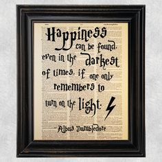 Check out Happiness Can Be Found, Albus Dumbledore Quote, Dictionary Art Print, Vintage Antique Book Page, Recycled, Upcycled, 8x10 Print (#117) on pagecrafting