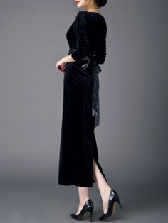 Black Plain Velvet Long Sleeve Maxi Dress