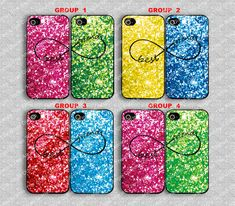 Sparkle & Glitter, best  friends  iPhone 4/4s Case,  iPhone 4 Hard Plastic/Soft Rubber Case, Personalized iPhone Case--water proof on Etsy, $15.99