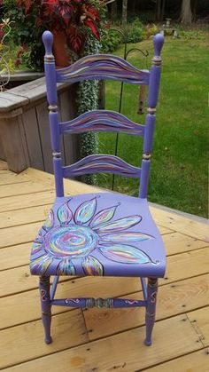 Funky painted furniture - Items similar to Hand painted Purple Chair on Etsy Painted Wood Chairs, Painted Rocking Chairs, Whimsical Painted Furniture, Hand Painted Furniture, Funky Furniture, Recycled Furniture, Art Furniture, Furniture Projects, Furniture Makeover