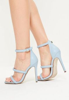 Add some colour to your outfit with these blue faux leather strappy barely there heels.