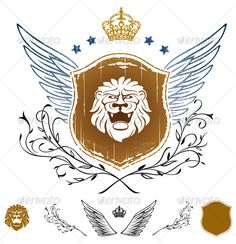 Graphic River Lion Head on Shield Insignia Vectors -  Decorative  Decorative Symbols 64212
