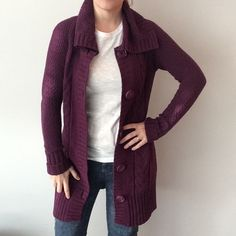 Old Navy purple plum long sweater cardigan Preowned. Great condition. Measurements: underarm to underarm flat across is approximately 18 inches. Length from back of neck to bottom of hem is approximately 32 1/2 inches. Made of 60% cotton /20% lambswool /20% acrylic Old Navy Sweaters Cardigans