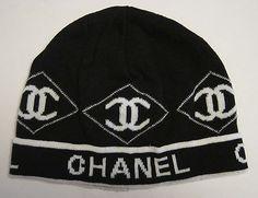 Vintage Chanel Women's Knit Hat Black White Beanie Cap