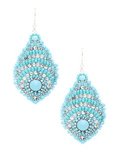 Turquoise & Swarovski Drop Earrings by Miguel Ases at Gilt