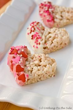 Valentine's Dipped Rice Krispies Treats