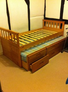 Single Pine Bed With Storage Drawers, Guest Bed Underneath And One Mattress