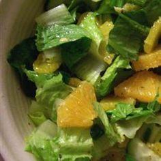 "Orange Romaine Salad | ""This is my kids favorite salad! Yay for kid friendly!!!! """