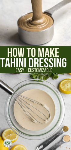 You only need 3 simple ingredients to make this amazing Tahini Dressing Its customizable perfect for Meal Prep and delicious on just Salads Buddha Bowls and just about ev. Vegan Dinner Recipes, Vegan Dinners, Whole Food Recipes, Vegetarian Recipes, Cooking Recipes, Healthy Recipes, Healthy Foods, How To Make Tahini, Hummus