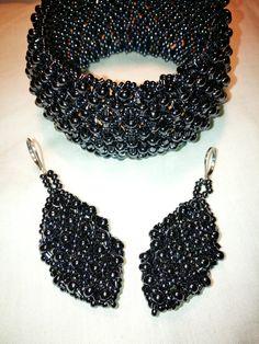Jewelry set: bracelet and earrings made of preciosa and toho beads made by Manufaktura Leo How To Make Beads, Leo, Crochet Earrings, Jewelry Making, Bracelets, Handmade, Hand Made, Jewellery Making, Make Jewelry