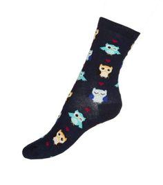 Navy Multicoloured Owl Print Socks