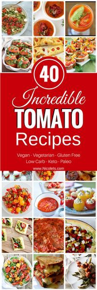 40 Incredible Tomato Recipes - made with summer's best veggie - Tomatoes!!!! YUMMMMMY! Vegetarian Recipe | Vegan Recipe | Gluten Free Recipe | Keto Recipe | Paleo Recipe | Low Carb Recipe | Recipe Collection | Tomato Recipe | Summer Recipe | Appetizer Re
