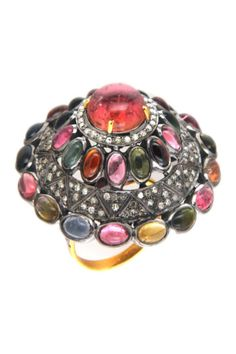 14K yellow gold and silver pave diamond assorted tourmaline ring