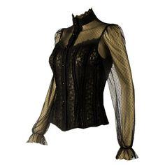 Black Steampunk Lace Blouse
