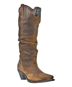 Take a look at this Tan Slouch Leather Cowboy Boot on zulily today!