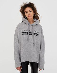 Hooded sweatshirt with slogan - Sweatshirts & Hoodies - Clothing - Woman - PULL&BEAR United Kingdom