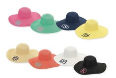 Beach Hats, Sun Hats, monogrammed with your initials, first, last, middle.