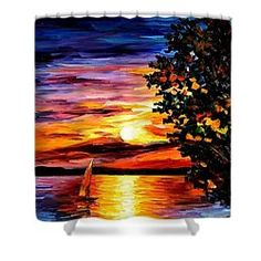 Beauty Of The Night - Palette Knife Oil Painting On Canvas By Leonid Afremov Shower Curtain by Leonid Afremov