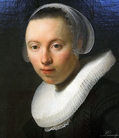 Rembrandt Harmenszoon van Rijn (1606-1669), Portrait of a Young Woman, 1632, oil on canvas, detail. Bildnis einer jungen Frau. .