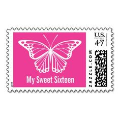 Butterfly My Sweet 16 Birthday Postage Stamps in pink or your color