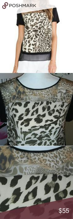 Diane Von Frustenburg Cheetah Blouse Absolutely stunning and very flattering DVF blouse. The material is slightly sheer and flowy which makes for a great summer addition or a comfortable blouse for under a blazer. There is a slight imperfection which I could have easily fixed with a needle and thread, I just felt that would have been dishonest. To fix this garment you simply need black thread and a needle which can be purchased for less than $2.00. I am pricing this blouse accordingly to…