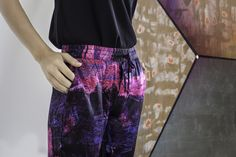 Up close and you can't deny, these #artTECA silk jogger pants are a dream 😍 Rich colors and soft feel, shop these must-have pants for Summer here: https://artteca.com/collections/pants/products/allover-pant-rose-purple-bar-print?utm_campaign=coschedule&utm_source=pinterest&utm_medium=artTECA