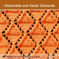 Stockinette and Garter Diamonds. Free Lace Knitting Pattern includes written instructions and video tutorial.