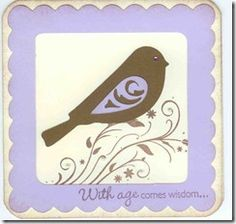 CTMH Just A Number & The Present stamps, with bird and frame cut using Art Philosophy Cricut cartridge http://www.facebook.com/Sheila.Stamping.Stuff