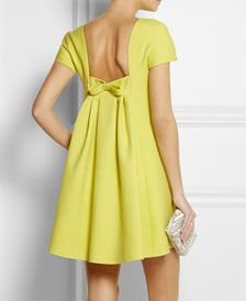 The Daily Frock: Valentino Citrus Mini Trapeze Bow Dress (The Terrier and Lobster) - Trend Designer Dresses Indian 2019 Bow Back Dresses, Dress With Bow, Pretty Dresses, Beautiful Dresses, Short Dresses, Summer Dresses, Neon Dresses, Gorgeous Dress, Summer Outfit