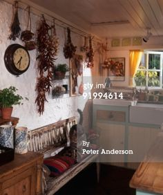 Stock-Foto : Country kitchen with dried flowers and herbs hanging on wall and a cat on a bench EUR 560 Kitchen Witch, Drying Herbs, Country Kitchen, Dried Flowers, Gallery Wall, Creative, Bench, Cat, House