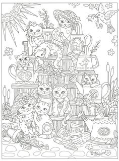 Cats galore coloring page