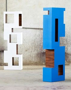 Freestanding Modular Wooden Bookcase TOTEM By Atelier MO.
