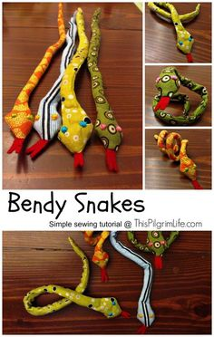 Sewing Gifts For Kids Six months after Christmas and my kids are still playing with these! And they were so easy to make! - A simple sewing tutorial for a bendable snake toy. Sewing Hacks, Sewing Tutorials, Sewing Crafts, Sewing Tips, Tutorial Sewing, Sewing Ideas, Fabric Scrap Crafts, Sewing Patterns Free, Free Sewing