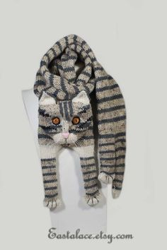 Tabby Gray Cat Scarf Knitting Scarf Gray Scarf Cowl Scarf Long Scarf knit, winter scarf, Christmas G Knitting For Kids, Knitting Projects, Crochet Projects, Hand Knitting, Cat Scarf, Grey Scarf, Scarf Knit, Long Scarf, Gato Crochet