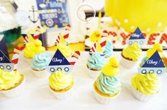 Rubber Ducky themed birthday party with Lots of Darling Ideas via Kara's Party Ideas | Full of decorating tips, cupcakes, cakes, printables,...