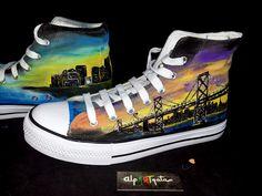 zapatillas-pintadas-mano-alpartgata (12) Converse Chuck Taylor High, Converse High, High Top Sneakers, Chuck Taylors High Top, On Shoes, High Tops, Art, Fashion, Painted Sneakers