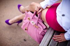 girly accessories:  purple pumps, pink birkin.