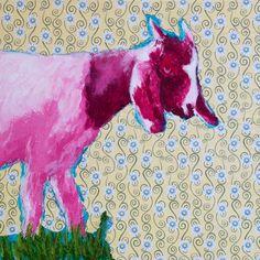 "One Goat  8"" x 8"" mixed media on panel"